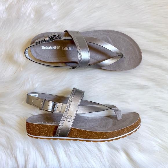 Una oración Dólar muestra  Timberland Shoes | Timberland Malibu Waves Silver Thong Sandals | Poshmark